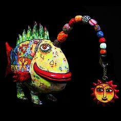 Big fish, fish sculpture, bright fish, colorful fish, fish figure, ceramic fish, gift fisher, fish lover of gift, angler fish, clay fish by CeramicsGerasimenko on Etsy