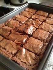 Basic Recipe: 4 ounces of chocolate (I used semi-sweet) 8 tablespoons butter 1 cup sugar 2 eggs 1 teaspoon vanilla 1/2 teaspoon salt (optional) 1/2 cup tapioca flour MELT Chocolate and Butter together, over stove or in Microwave COMBINE Sugar and eggs in bowl, Mix til silky, adding vanilla MIX Chocolate into sugar mixture Add Flour and mix well Preheat oven to 400 degrees Farenheit Pour into Prepared Pan, put into preheated oven. Bake for 25 minutes, until toothpick inserted comes out clean