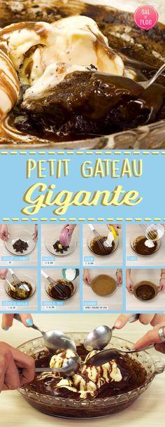Já imaginou um Petit Gateau tamanha família?? Não, então dá uma olhadinha nessa receita, que é muito fácil de fazer e leva pouco ingredientes. Todo mundo vai amar!!