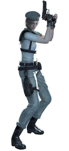 Jill (from the first Resident Evil game) is a good example of to make a character feminine while still taking her seriously. The player visually sees her as someone that can seriously take action. Her proportions are realistic (in this version anyway) and she is wearing a bullet-proof vest that actually covers her entire torso. - #residentevil