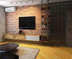 Loft Interior, Brick Interior, Home Interior Design, Tv Wall Design, Loft Design, Pergola Patio, Small Pergola, Pergola Screens, Modern Pergola