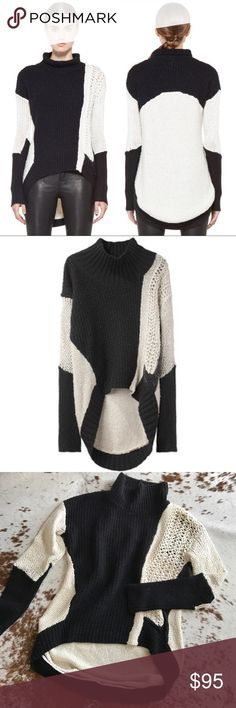 Helmut Lang black & white knit turtleneck sweater Turtleneck sweater with long sleeves, curved hem, & geometric mixed-knit details. Wide ribbed turtleneck. Long sleeves. Sections of contrasting mixed yarns & stitching throughout. Curved hem. Rib knit at back hem. Length is longer in back. Label with size has fallen out but fits like a S (will fit XS or M as well depending on how you want it to fit). Helmut Lang Sweaters Cowl & Turtlenecks