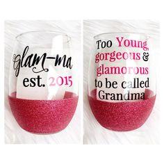 Glamma Glitter Wine Glass // Glam-Ma Wine by TwinkleTwinkleLilJar