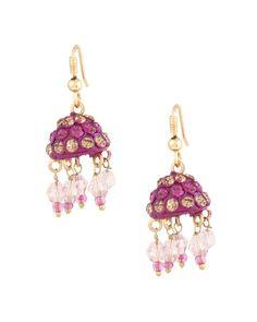Charming Small Pink Lac Jhumki Earrings
