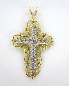 14KT YELLOW GOLD PENDANT CHARM CROSS CHRISTIAN 2.1DWT SCROLL 17 DIAMOND JESUS