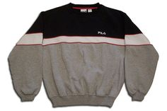 RARE!! FILA Dylan Big Logo Colour Block Red White Navy Blue Sweatshirt Fila Men's Polar Long Sleeve Crewneck Jumper Fila Multi color Pull Over
