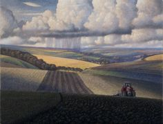 James Lynch The Ploughman White Sheet Hill Signed Egg tempera on gesso coated wood panel 19 x x Watercolor Landscape, Landscape Art, Landscape Paintings, Small Paintings, Watercolor Illustration, Graphic Illustration, James Lynch, Field Of Dreams, Sketch Inspiration