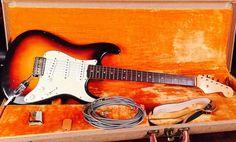1959 Slab Board Fender Stratocaster Sunburst. For Sale: $24,500 #fender #stratocaster #strat #fenderstratocaster #fenderguitar #fenderstrat #vintagefender #vintagefenderstratocaster #vintageguitar #vintageelectricguitar #vintagefenderguitar Guitar Strings, Guitar Pedals, Guitar Chords, Guitar Amp, Fender Stratocaster Sunburst, Vintage Guitars For Sale, Lucy Star, Fender Electric Guitar, Drawings Of Friends