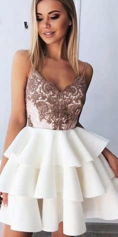 Fancy dresses short - Short Spaghetti Prom Dresses Backless Homecoming Dress With Layered from Sweet Lady – Fancy dresses short Backless Homecoming Dresses, Hoco Dresses, Lace Evening Dresses, Dresses For Teens, Pretty Dresses, Dresses For Work, Elegant Dresses, Sexy Dresses, Backless Dresses