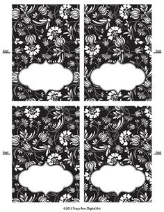 Black Floral Place Cards Printable Tent by TracyAnnPrintables