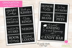 Graduation Candy Labels - Printable Graduation Party - Candy Buffet / Candy Bar - Grad Party Candy Labels - INSTANT DOWNLOAD by PinkAppleParties on Etsy