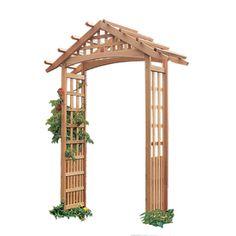 Garden Architecture 72.75-in W X 97-in H Natural Gable Arbor Garden Arbor…