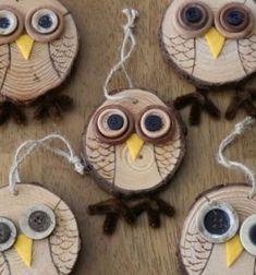 Autumn owl decor from wood slices - fall owl tree // Őszi bagoly díszek farönk szeletekből - bagolyfa // Mindy - craft tutorial collection // #crafts #DIY #craftTutorial #tutorial #NatureCrafts