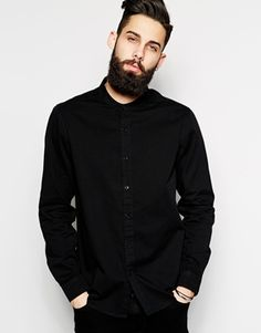 ASOS Twill Shirt In Long Sleeve With Grandad Collar
