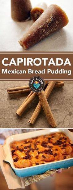Capirotada Mexican Bread Pudding Muy Bueno Cookbook Capirotada is a Mexican bread pudding made with cinnamon piloncillo cloves raisins bread and cheese I can smell and t. Pudding Desserts, Pudding Recipes, Cheesecake Pudding, Gourmet Recipes, Sweet Recipes, Cooking Recipes, Cooking Bread, Bread Baking, Cooking Lamb