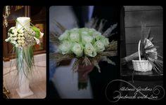 #wedding #candle arrangement #bridal bouquet #roses #lilies
