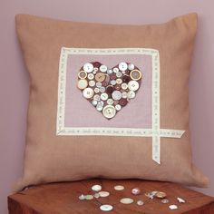 Personalised, bespoke gifts @ Footprints of Time | Button Heart Cushion
