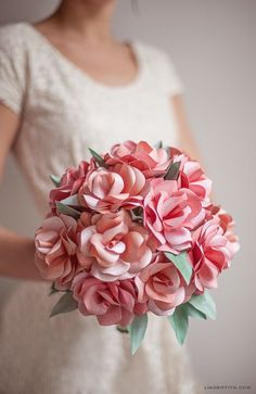 DIY Paper Rose Wedding Bouquet