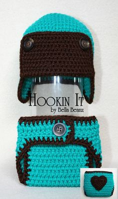 Aviator hat and diaper cover set in blue and dark brown photography prop set for boys