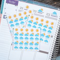 25 Daily Weather Sampler Sheet Sticker Planner by FasyShop on Etsy