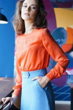 Блузка шелковая оранжевого цвета Bell Sleeves, Bell Sleeve Top, Office Style, Office Fashion, Tops, Women, Office Attire, Office Looks, Woman
