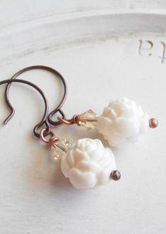 Beaded Earrings - Ivory Roses