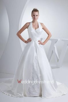 Cheap Fabulous Ruched Halter Chapel Train A-line Wedding Dress with Appliques and Beadings - Beautiful Wedding Dresses Wholesale and retail Online