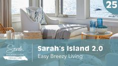 In this episode of Design Life: Sarah's Island we're taking a great room and making it even greater! We built our cottage living room - a. Rattan Chair Cushions, Marble Top Side Table, Chair Cushion Covers, Island 2, Porch Wall, Sarah Richardson, Cottage Living Rooms, Modern Family, Fabric Sofa