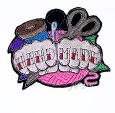 Hand Made Crafty Knuckle Tattoo Embroidered Patch Iron On MTCoffinz $10