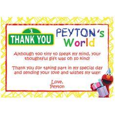 Elmo's World / Sesame Street Thank You Cards- Custom Digital File. $8.50, via Etsy.