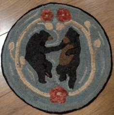 Rug Hooking Pattern for Dancing Bears Chair Pad, on Monks Cloth or Primitive Linen, – Floor Pillow Rug Hooking Kits, Rug Hooking Designs, Rug Hooking Patterns, Locker Hooking, Rug Patterns, Monks Cloth, Hand Hooked Rugs, Circle Rug, Penny Rugs