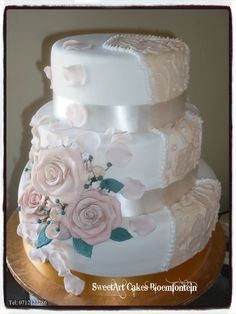 Wedding Cake For more info & orders, email sweetartbfn@gmail.com or call 0712127786 Fondant Cupcakes, Fondant Flowers, Edible Cake, Holiday Cakes, Rose Petals, Cupcake Toppers, Preserves, Icing, Period