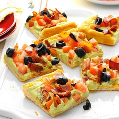 Guacamole Appetizer Squares Recipe -For ages, my brother's family and I have gotten together on Christmas Eve, and always eat snacks while we open our presents. This Tex-Mex spin on classic appetizer pizza is one we have again and again. —Laurie Pester, Colstrip, Montana #christmassnacks