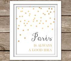 Paris Wall Art - Printable Wall Art, Instant Download, Gold, Nursery Artwork, Typography, DIY, Baby Girl, Dorm Room Decor, Audrey Hepburn