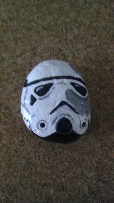 Stormtrooper painted rock by RocksRocks on Etsy, $15.00