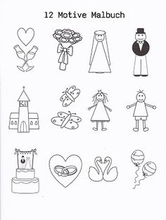 Dieses  Malheft ist ein schönes Gastgeschenk für die  eingeladenen kleinsten Gäste auf Ihrer Hochzeit. Die 12 ausgewählte Motive (extra Abbildung siehe Foto) aus diesem Malbuch passen auf...