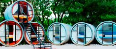 TuboHotel... features rooms made from recycled concrete pipes! thats gnarly!