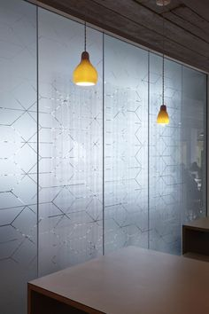 Semi-translucent glass by light geometric printed motifs - ASOS Headquarters by MoreySmith Glass Film Design, Frosted Glass Design, Frosted Glass Sticker, Office Graphics, Window Graphics, Corporate Interiors, Office Interiors, Corporate Offices, Glass Office