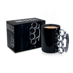 Don't be a MUG! Look like a boss when you're drinkin' your brew! These large porcelain MUG!'s with metallic knuckle duster shaped handles in white & gold an