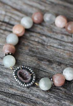 Moonstone Diamond Druzy Statement Bracelet / Multi Color