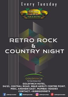 Let's set on that nostalgia trip as we spin for you all the tunes from the good ol' times. Retro Rock & Country Night, this Tuesday at Café Mojo Mumbai. #Mumbai #NightLife #Pubs #Party #Beer #Fun #Beers #Enjoy #GoodTimes #OntheBar  #Parties #PartyMusic #DrinkLocal #Music #Dance #Pub #Drinks #EatLocal  #BeerDrinks #Mumbai  #OnthePub  #Clubbing #Club