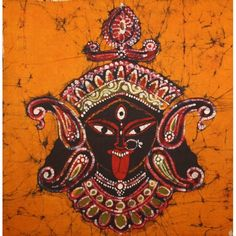 A beautiful Bengal rendering of the face of the Hindu Goddess Kali, the annihilator of evil forces and the redeemer of the universe in all her glory, in Batik.