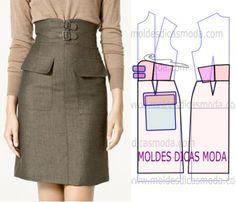moldes de saias com bolso e cos alto