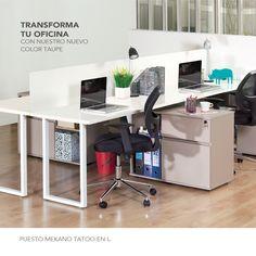 Cada puesto incluye: 1 Superficie de 1,50 x 0,60 mt.  1 Módulo base Tatoo: con un cajón, una gaveta de archivo con corredera y trampa y biblioteca.  Dimns: 80 x 45 x h 65 cm.  1 Pata en U. 1 Ensamble distanciador Twin.