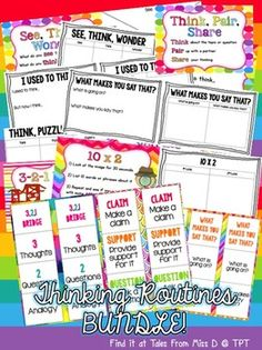 Promote visible thinking in your classroom with this Thinking Routines Bundle.   9 bookmarks, 12 posters.