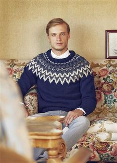 """Tema 39: Modell 6 """"Polarstjerne"""" herre #norsk #klassiker #strikk #knit"""
