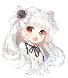 Anime Girl, Chibi, Cheveux blancs, Elf Ears, Red Eyes - Buddy The Elf Anime Neko, Kawaii Anime Girl, Manga Kawaii, Loli Kawaii, Cute Anime Chibi, Chica Anime Manga, Anime Girl Cute, Kawaii Chibi, Beautiful Anime Girl