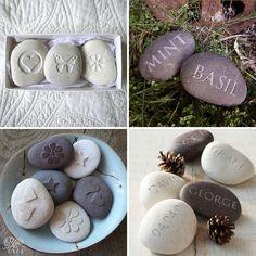 Personalised engraved pebbles | Letterfest | Roses & Lace http://www.rosesandlace.co.uk/letterfest/
