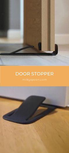 1Pack Gobrico Wall Mounted Door Stopper Brush Satin Nickel Door Stop Holder Catch Height 95mm 3-3//4 304 Stainless Steel Black Rubber