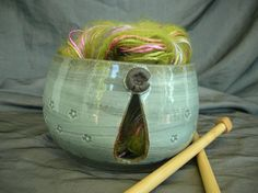 Ceramic Yarn Bowl - Keyhole Style - in Sky Blue and Black Mountain. By Sally Anne Stahl @ clayshapergallery.com